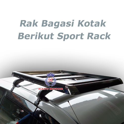RAK BAGASI KOTAK Hitam + Cross Bar Sport Rack
