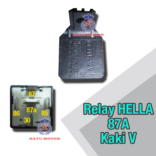 Relay HELLA Kaki 5, 1x87a & 1x87 12Volt Made in Germany