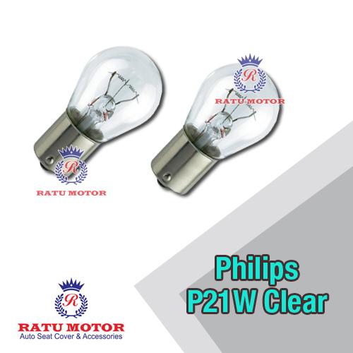 Bohlam PHILIPS P21W 12V Clear Putar Kaki 1 (@ 2 Pcs)
