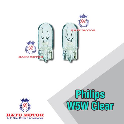 Bohlam PHILIPS W5W / T10 12V Clear Tancap Kecil (@ 2 Pcs)