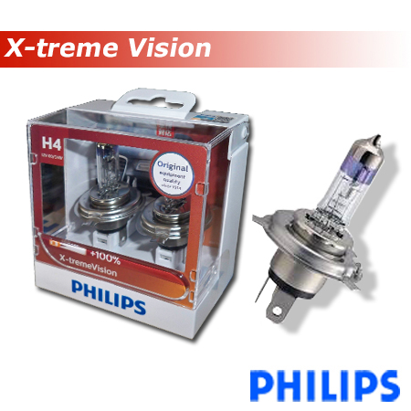 PHILIPS Extreme Vision Plus Halogen H4 12V 60/55 W Colour 3.500K (+130%)