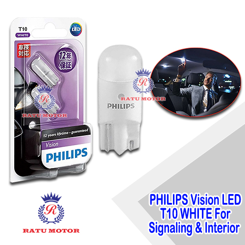PHILIPS Vision LED Ultinon T10 12V White (New) For Interior & Signaling