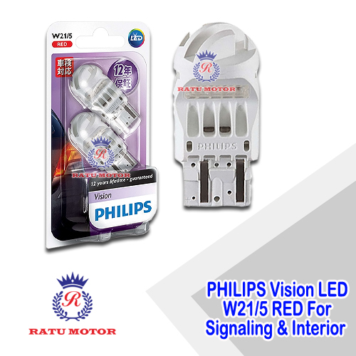 PHILIPS Vision LED Ultinon W21/5 12V Red For Signaling