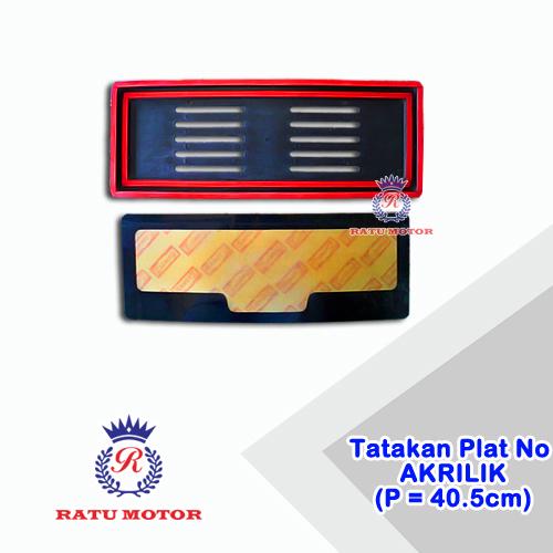 Tatakan Plat No + Cover Akrilik P= 40,5cm (2 Pcs)