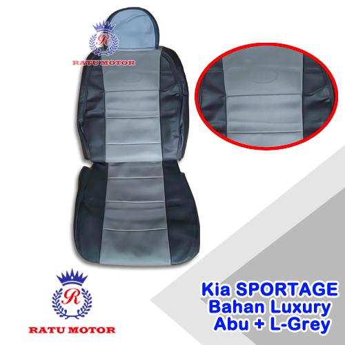 Sarung Jok KIA SPORTAGE 2 Bahan Luxury DarkGrey + LGrey (Jok Tengah Kepala Cabut)