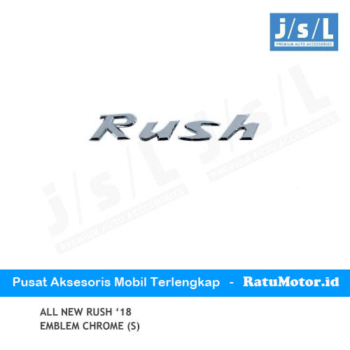 Emblem Tulisan RUSH All New RUSH 2018-2019 Chrome (Small)