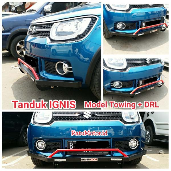 Tanduk Depan  IGNIS Model Towing Full Bumper (List Merah/Hitam) + Lampu DRL