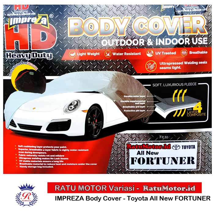 Body Cover IMPREZA HD for FORTUNER 2016-2018 WaterProof 4 Layers