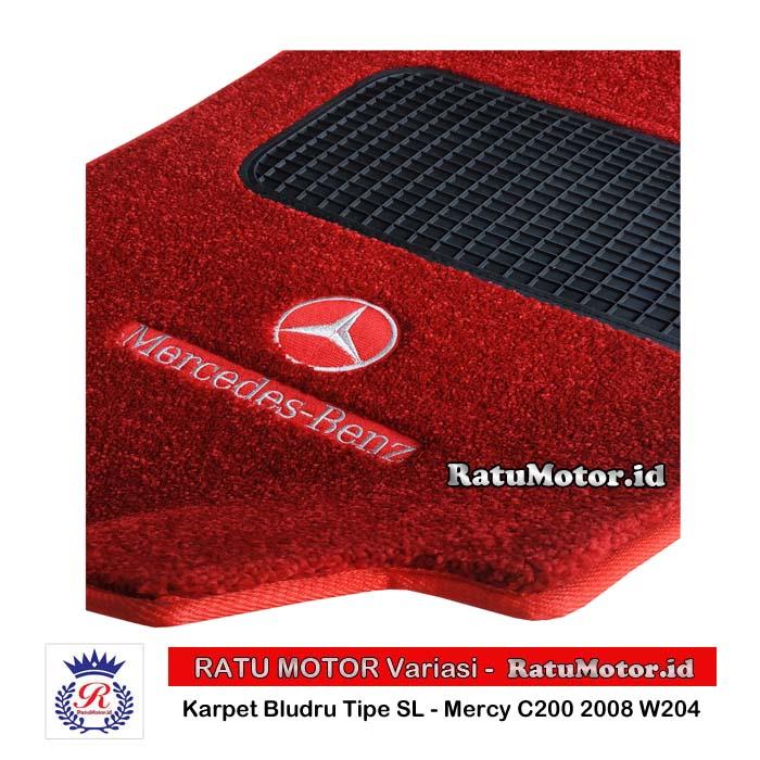 Karpet Bludru Tipe SL Mercy C200 2008 (W204) Tanpa Bagasi + LOGO