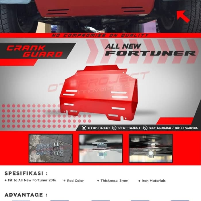 CRANK GUARD All New FORTUNER 2018 - Pelindung Bawah Mesin Red
