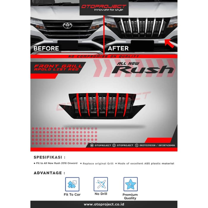 Grill Depan All New RUSH 2019 Model Apollo / Prado List Merah
