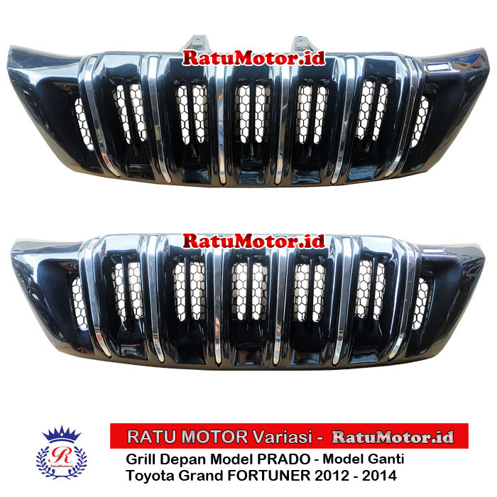 Grill Depan FORTUNER 2012-2014 Model PRADO Hitam Glossy List Chrome