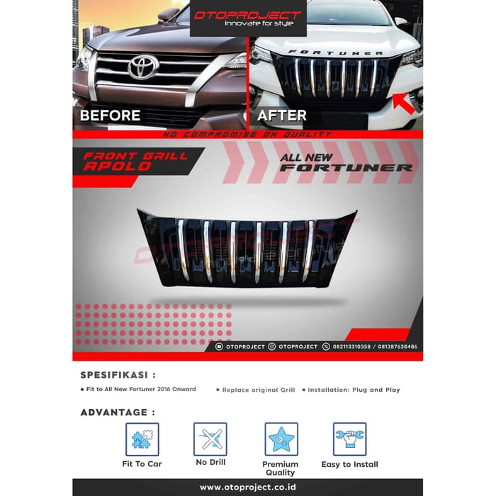 Grill Depan FORTUNER 2018 Model Apollo / Prado List Chrome