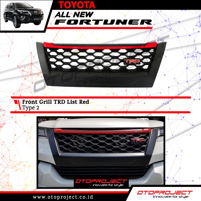 Grill Depan FORTUNER 2018 Model TRD Tipe 2 List Merah