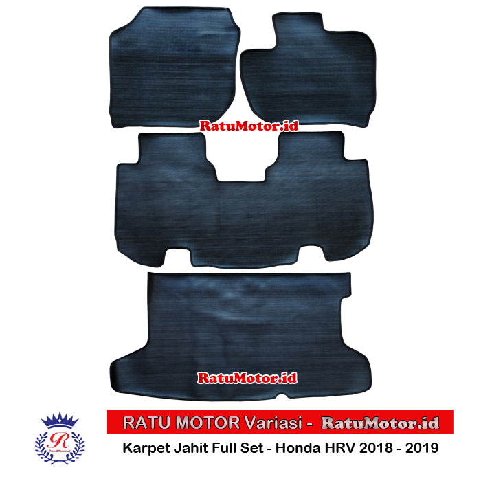 Karpet Karet Jahit Honda HRV 2018-2019 Full Set Hitam (4 Pcs)