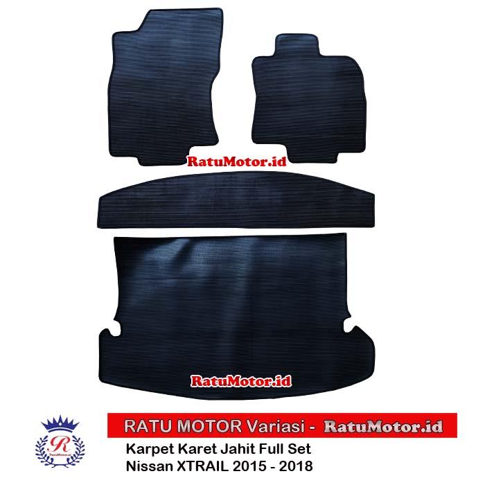 Karpet Karet Jahit Nissan XTRAIL 2015 - 2018 Full Set Hitam (4 Pcs)