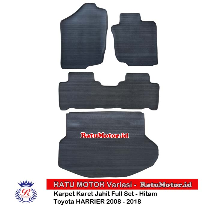 Karpet Karet Jahit Toyota HARRIER 2008-2018 Full Set Hitam