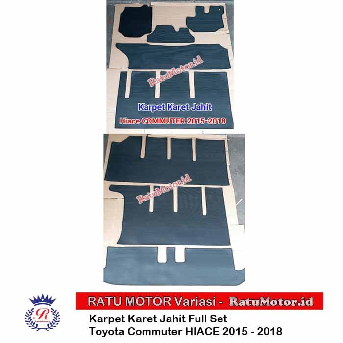 Karpet Karet Tipe Jahit Hiace COMMUTER 2015-2018 5 Baris + Bagasi Hitam