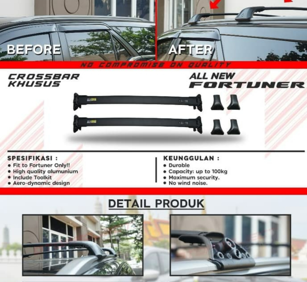 OTORACK Cross Bar Khusus FORTUNER 2018 RoofRack CrossBar