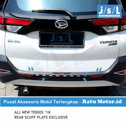 Sill Plate Belakang All New TERIOS 2018-2019 Exclusive Plastik Hitam with Reflektor