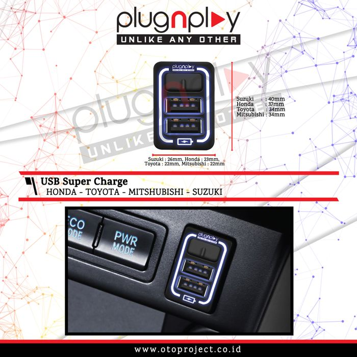 USB Charger Honda CRV Turbo 2018 Fast Charging HP Smartphone PlugnPlay